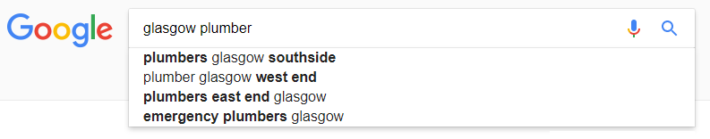 google glasgow plumbers search