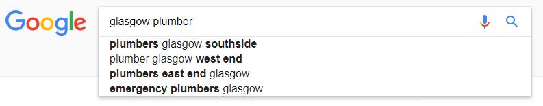 google glasgow plumbers search