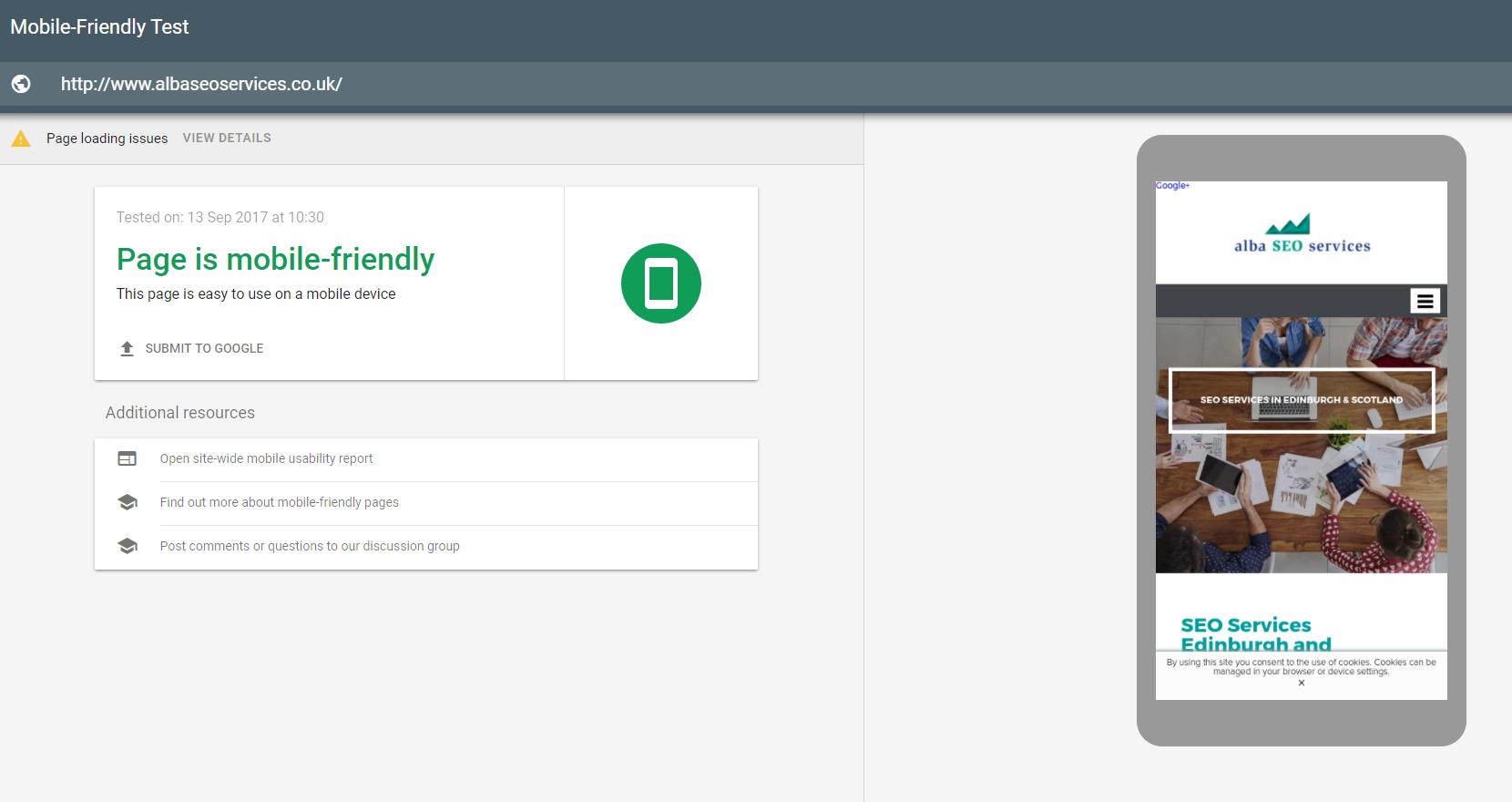google mobile friendly alba seo