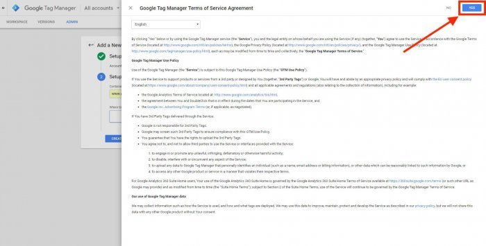 google tag manager terms of service