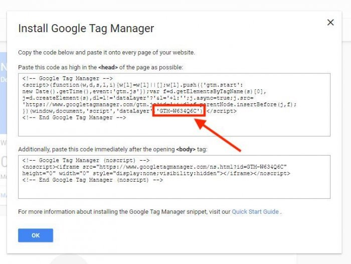 installing google tag manager code